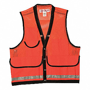 "Orange Field Vest,  L,  Cordura With Polypropylene Webbing,  Fits Chest Size 40"" to 42"",  12 Pockets"