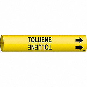 Pipe Marker, Toluene, Yel, 1-1/2 to2-3/8 In