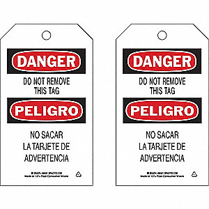 Danger Bilingual Tag,7 x 4 In,PK10