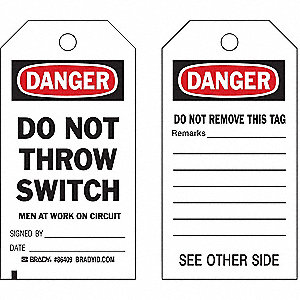 "Danger Tag, Electrical Hazard, Polyester, 5-3/4"" x 3"""