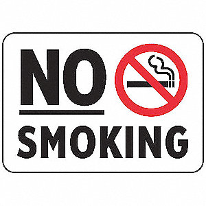No Smoking Sign,10 x 14In,R and BK/WHT