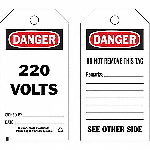 "Danger Tag, Electrical Hazard, Cardstock, 5-3/4"" x 3"""