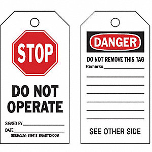 "Danger Tag, Cardstock, Stop Do Not Operate, 7"" x 4"", 100 PK"