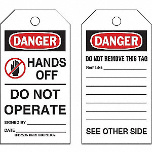 "Danger Tag, Cardstock, Hands Off Do Not Operate, 5-3/4"" x 3"", 100 PK"