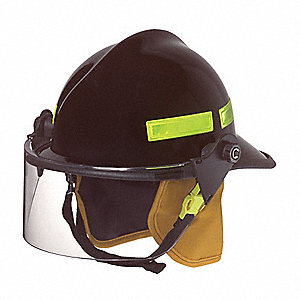 Black Fire Helmet, Shell Material: Fiberglass, Ratchet Suspension, Fits Hat Size: 6-3/8 to 8-3/8