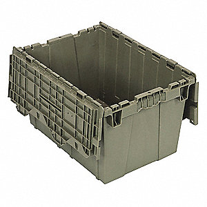 Attached Lid Container,1.67 cu ft,Gray