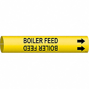 Pipe Marker, Boiler Feed, Yellow, 4 to 6 In