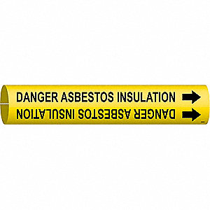 Pipe Mkr,Danger Asbestossulation,4to6 In