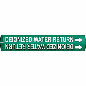 Pipe Marker,Deionized Water Return,Green