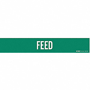 Pipe Marker, Feed, Green, 8 In or Greater