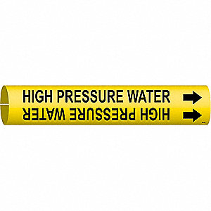 Pipe Marker,High Pressure Water,Yellow