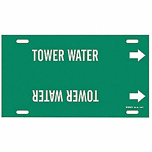 Pipe Marker, Tower Water, Grn, 6 to7-7/8 In