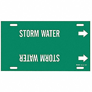 Pipe Marker,Storm Water,Grn,8 to9-7/8 In