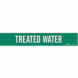 Pipe Marker,Treated Water,Gn,8 In orGrtr