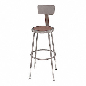 "Round Stool with 25"" to 30"" Seat Height Range and 300 lb. Weight Capacity, Gray"