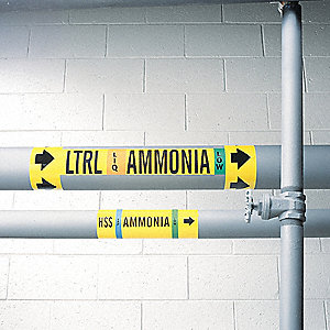 "Ammonia Liquid Pipe Marker, Fits Pipe O.D. 2-1/2–7-7/8"", High Pressure Level, DC, 1 EA"