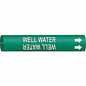 Pipe Markr,Well Water,Gn,2-1/2to3-7/8 In