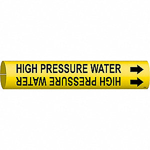 Pipe Marker, High Pressure Water, Yellow