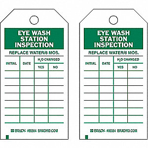 Economy Polyester Replace Water 6 Mos Initial Date H20 Changed Yes No Eye Wash/Shower Inspection Tag