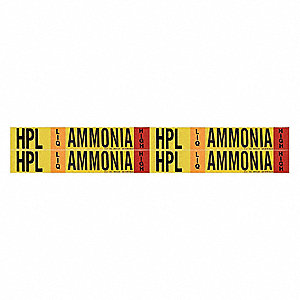 "Ammonia Liquid Pipe Marker, Fits Pipe O.D. 3/4 2-3/8"", High Pressure Level, HPL, 1 EA"