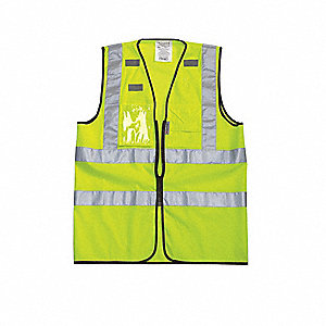 High Visibility Vest,Class 2,XL,Yellow