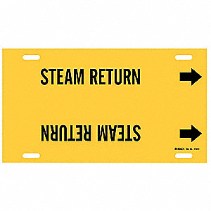 Pipe Marker,Steam Return,Yel,10 to 15 In