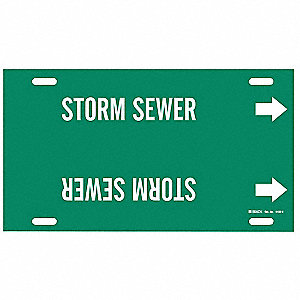 Pipe Marker, Storm Sewer, Grn, 10 to 15 In