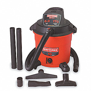 16 gal. Commercial Wet/Dry Vacuum, 6 Peak HP, 120 Voltage