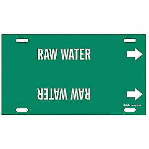 Pipe Marker,Raw Water,Grn,8 to 9-7/8 In