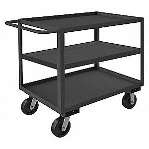 Steel Flat Handle Utility Cart, 2000 lb. Load Capacity, Number of Shelves: 3