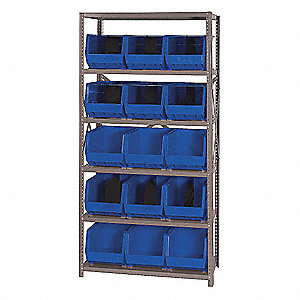 "Steel Bin Shelving with 15 Bins, 36""W x 18""D x 75""H, Load Capacity: 2400 lb., Gray"
