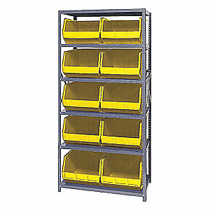 "36"" x 18"" x 75"" Bin Shelving Unit with 2400 lb. Load Capacity, Yellow"
