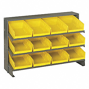 "Bench Pick Rack,23"" H,12 Bins,Yllow"