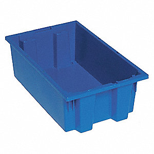 "Stack and Nest Container, Blue, 6""H x 18""L x 11""W, 1EA"