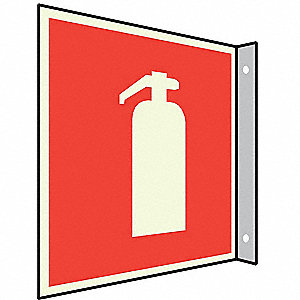 Fire Extinguisher Sign,8 x 8In,WHT/R,SYM