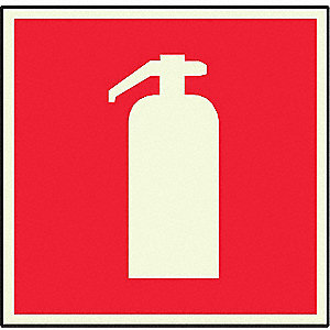 Fire Extinguisher Sign,8 x 8In,R/WHT,ENG
