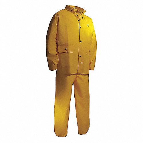 Traje de 2 piezas para la lluvia con capucha, Hombre, PVC, Amarillo, Dimensión XL