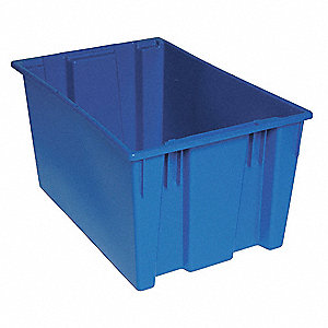 "Stack and Nest Container, High Density Polyethylene, 29-1/2"" Outside Length, 19-1/2"" Outside Width"