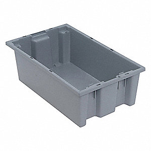 Nest and Stack Container,18 in. L,Gray