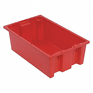 Nest and Stack Container,18 in. L,Red