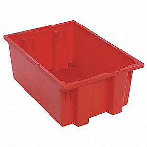 "Stack and Nest Container, High Density Polyethylene, 19-1/2"" Outside Length, 13-1/2"" Outside Width"