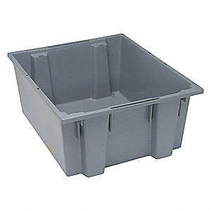 "Stack and Nest Container, Gray, 10""H x 23-1/2""L x 19-1/2""W, 1EA"