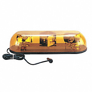 Amber Rotating Mini Light Bar, Permanent Mount Mounting, Number of Heads: 2
