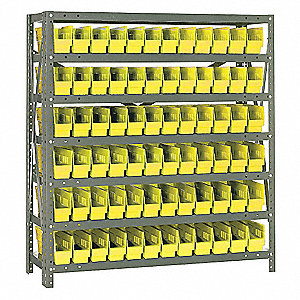 "36"" x 12"" x 39"" Bin Shelving with 2000 lb. Load Capacity, Yellow"