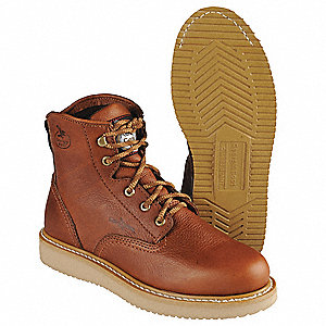 "6""H Men's Work Boots, Plain Toe Type, Leather Upper Material, Tan, Size 10"