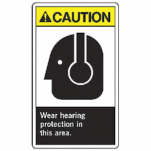 Caution Sign,14 x 10In,YEL and BK/WHT