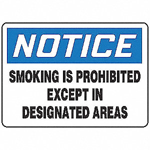 No Smoking Sign,10 x 14In,BL and BK/WHT