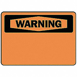 Warning Sign,7 x 10In,BK/ORN,BLK,SURF
