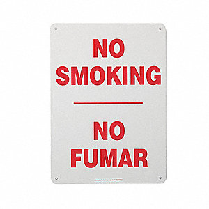 No Smoking Sign,Bilingual,14x10,R/W