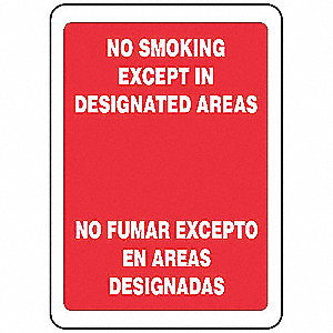 No Smoking Sign,Bilingual,14x10,W/R